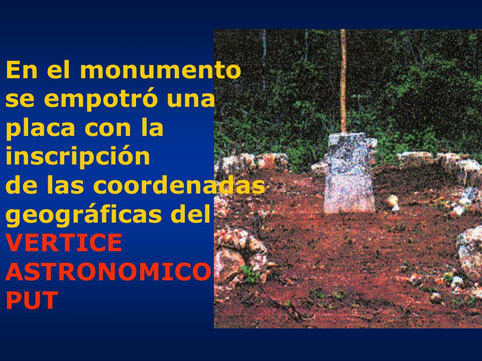En el monumento se empotró una placa con la inscripción de las coordenadas geográficas del VERTICE ASTRONOMICO PUT