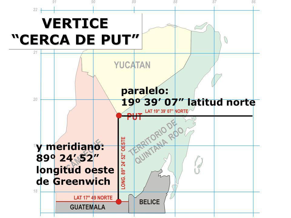 VERTICE CERCA DE PUT paralelo: 19º 39' 07 latitud norte