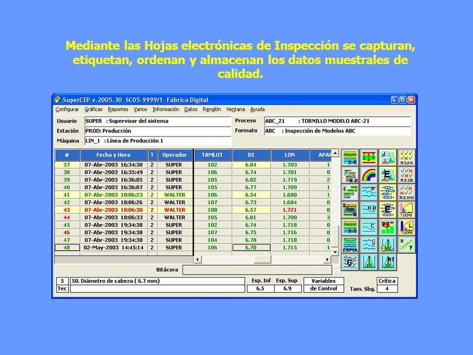 Mediante las Hojas electrónicas de Inspección se capturan, etiquetan, ordenan y almacenan los datos muestrales de calidad.