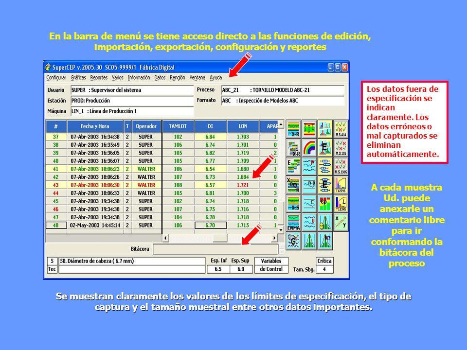En la barra de menú se tiene acceso directo a las funciones de edición, importación, exportación, configuración y reportes