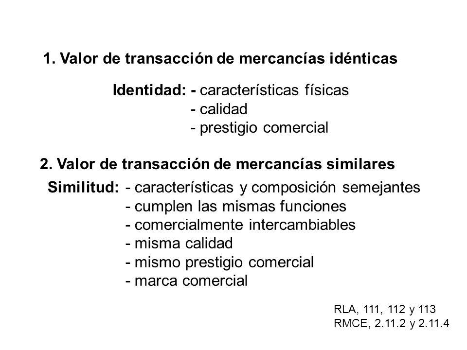 1. Valor de transacción de mercancías idénticas