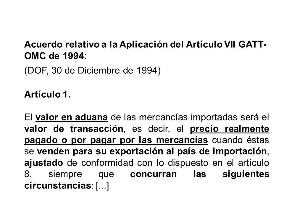 Acuerdo relativo a la Aplicación del Artículo VII GATT-OMC de 1994: