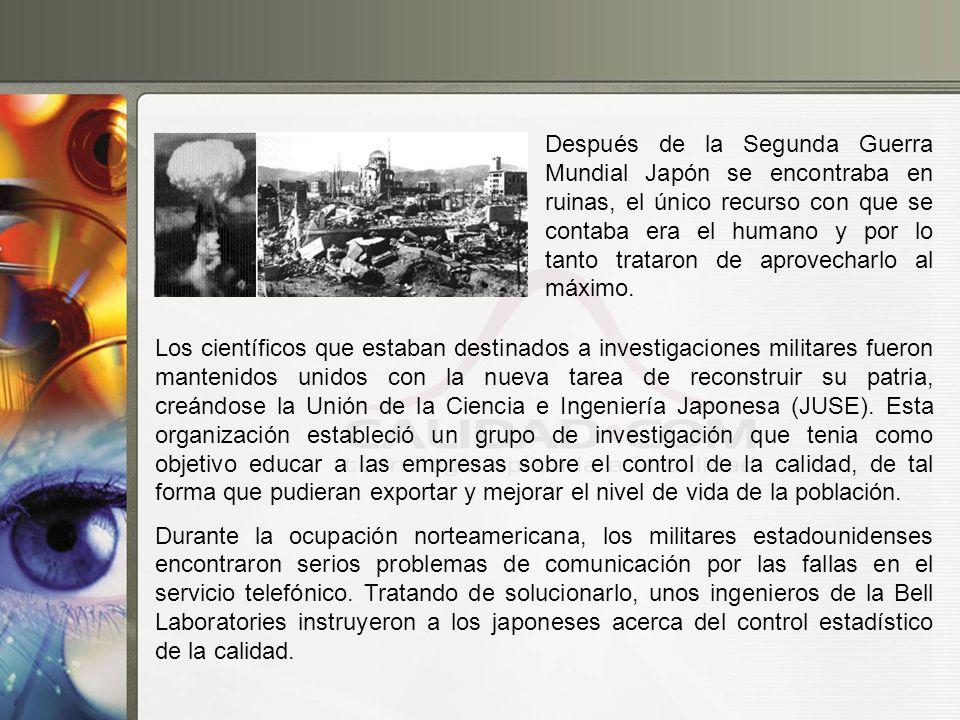 Después de la Segunda Guerra Mundial Japón se encontraba en ruinas, el único recurso con que se contaba era el humano y por lo tanto trataron de aprovecharlo al máximo.