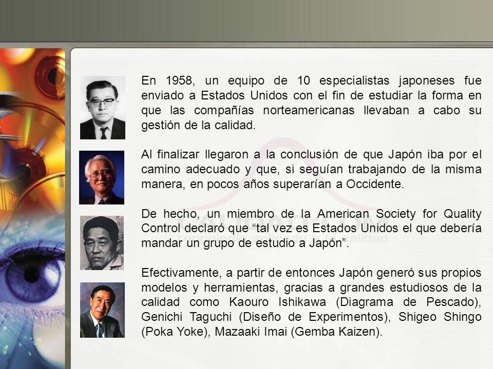 En 1958, un equipo de 10 especialistas japoneses fue enviado a Estados Unidos con el fin de estudiar la forma en que las compañías norteamericanas llevaban a cabo su gestión de la calidad.