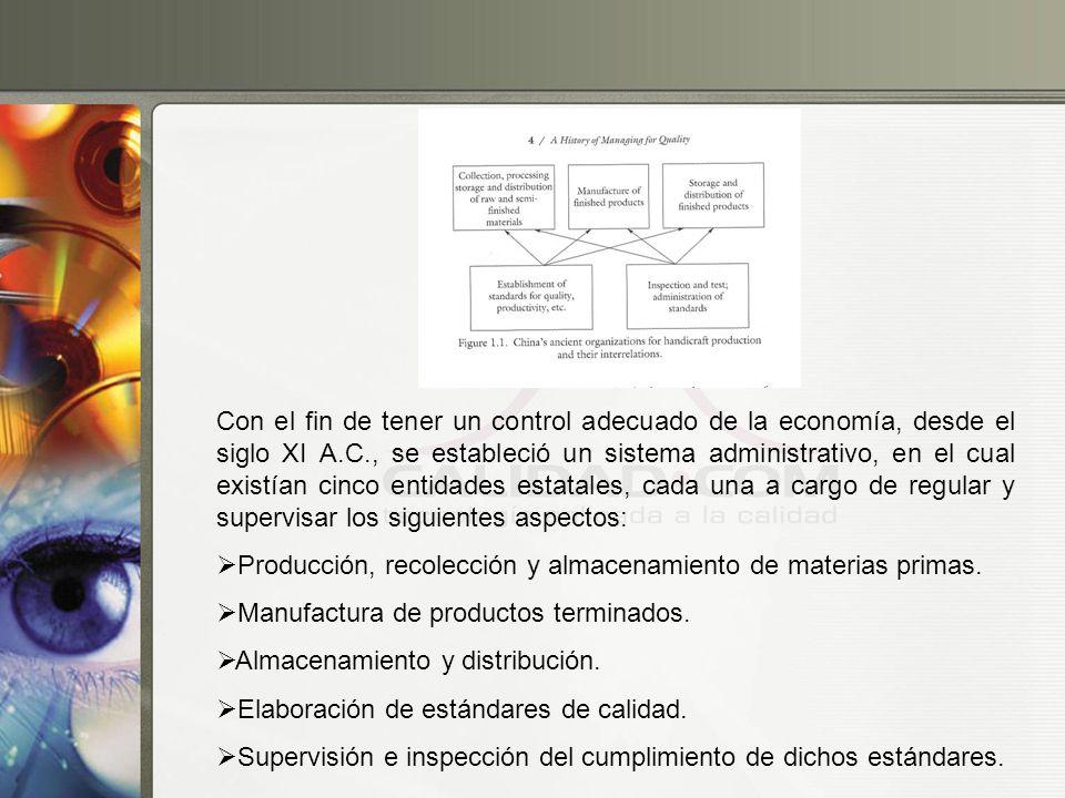 Con el fin de tener un control adecuado de la economía, desde el siglo XI A.C., se estableció un sistema administrativo, en el cual existían cinco entidades estatales, cada una a cargo de regular y supervisar los siguientes aspectos: