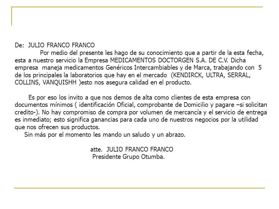 De: JULIO FRANCO FRANCO