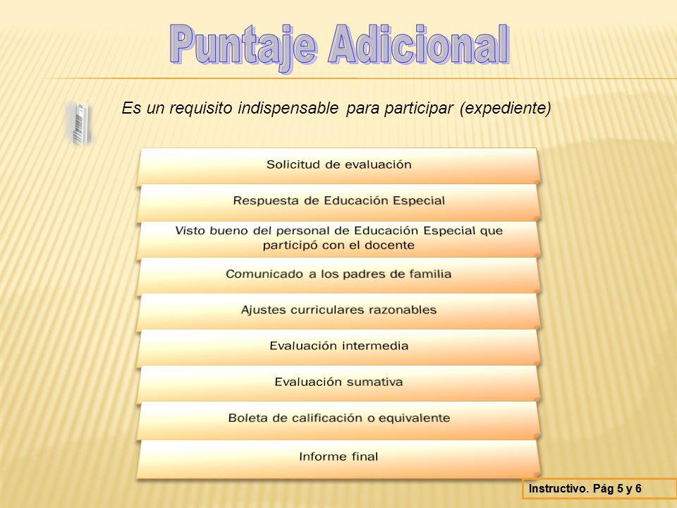 Puntaje Adicional Es un requisito indispensable para participar (expediente) Solicitud de evaluación.