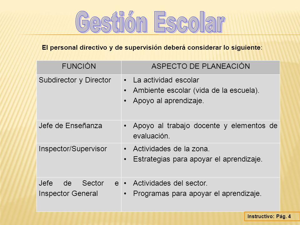 Gestión Escolar FUNCIÓN ASPECTO DE PLANEACIÓN Subdirector y Director