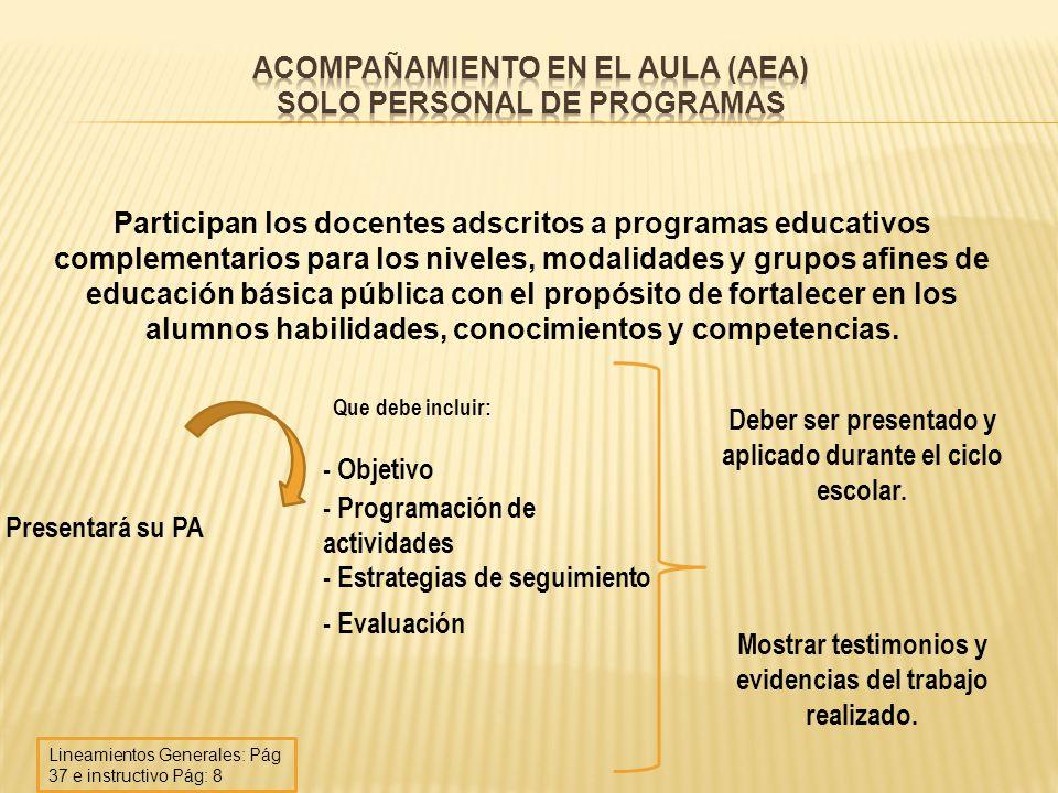 Acompañamiento en el Aula (AEA) solo personal de programas