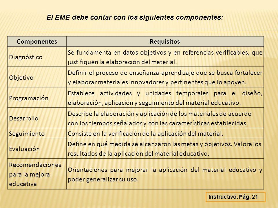 El EME debe contar con los siguientes componentes: