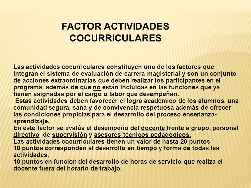 FACTOR ACTIVIDADES COCURRICULARES