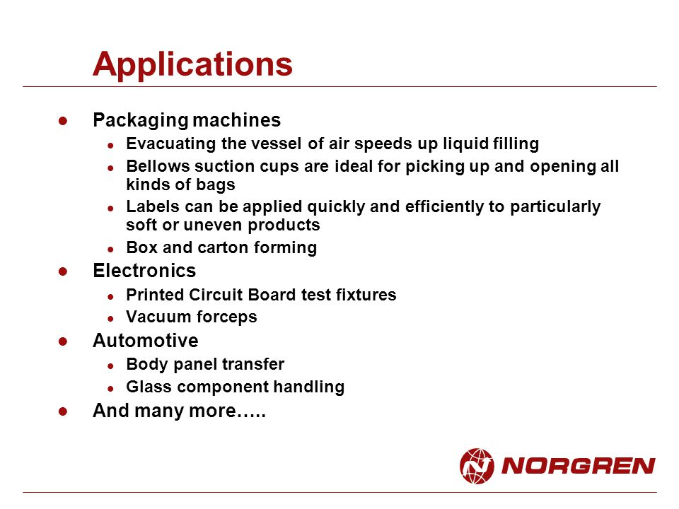 Applications Packaging machines Electronics Automotive