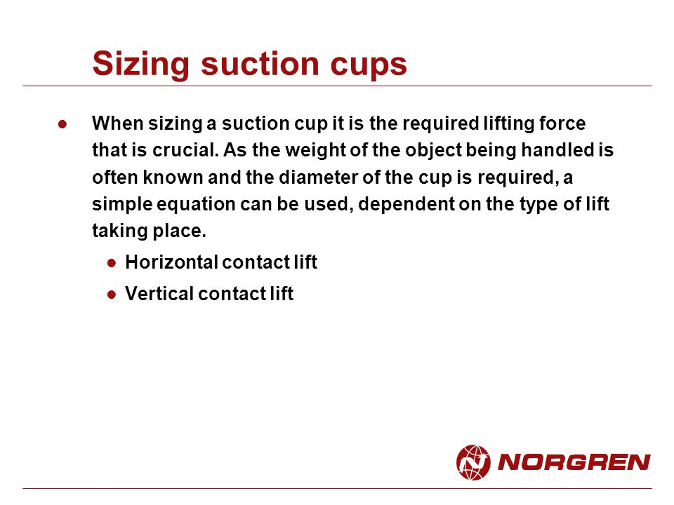 Sizing suction cups