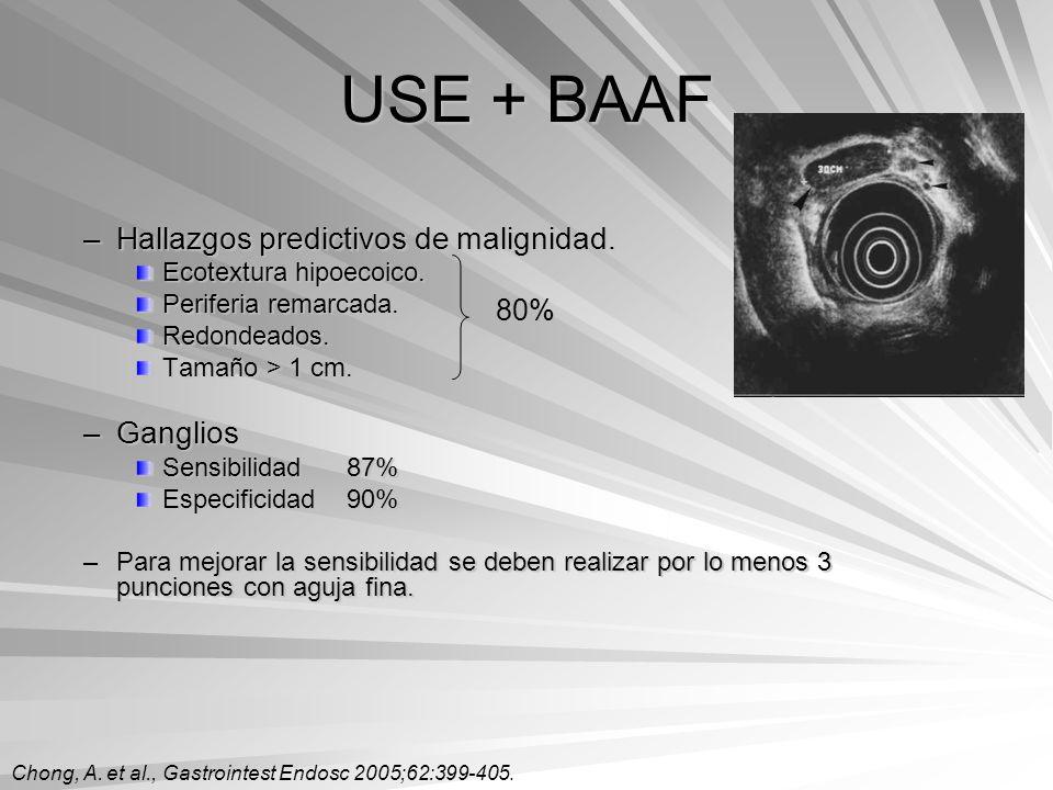 USE + BAAF Hallazgos predictivos de malignidad. Ganglios 80%
