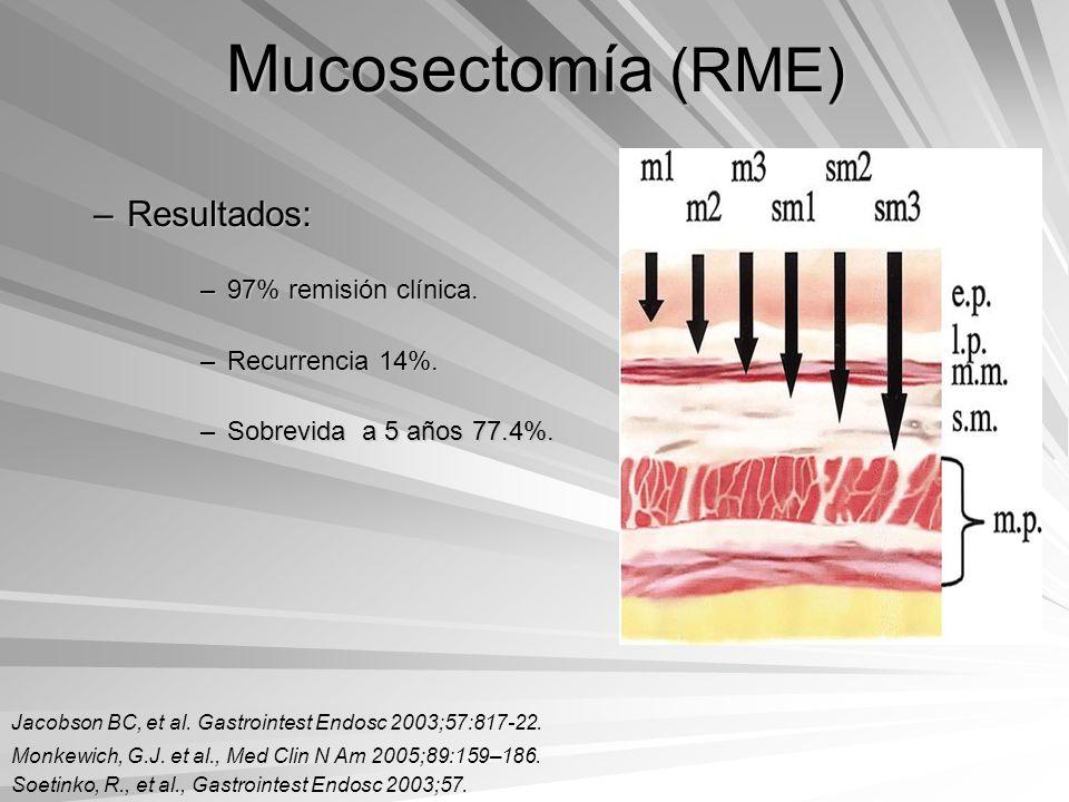 Mucosectomía (RME) Resultados: 97% remisión clínica. Recurrencia 14%.