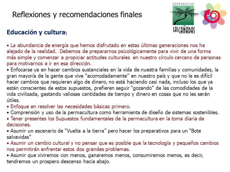 Educación y cultura: Reflexiones y recomendaciones finales