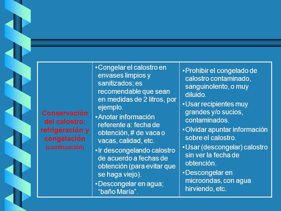Conservación del calostro: refrigeración y congelación