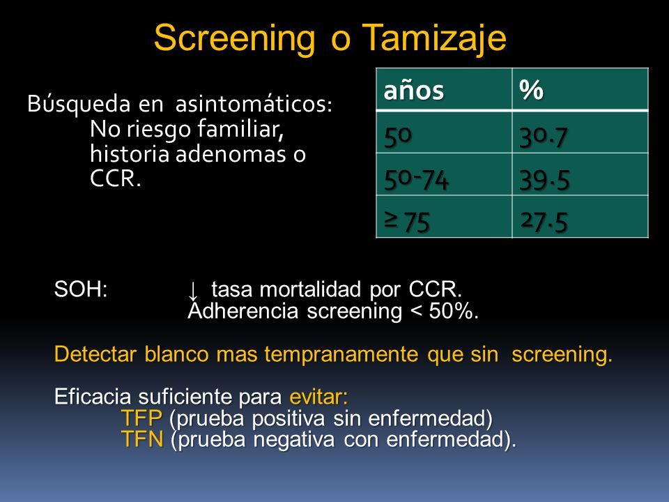 Screening o Tamizaje años % 50 30.7 50-74 39.5 ≥ 75 27.5