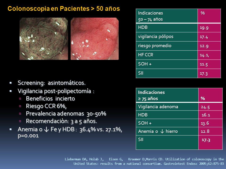 Colonoscopia en Pacientes > 50 años