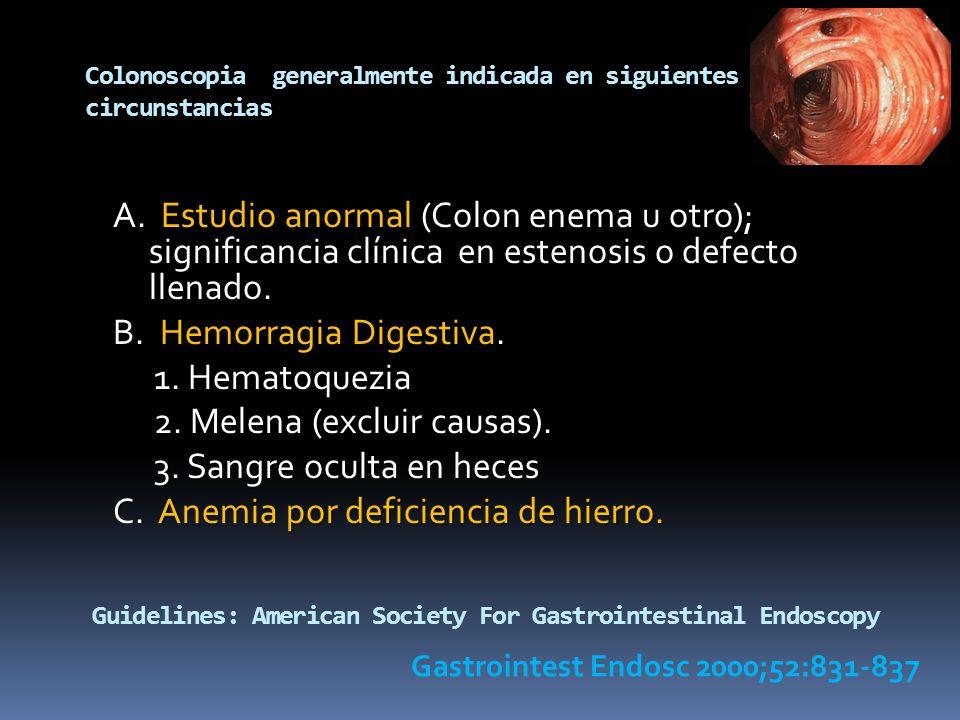 Colonoscopia generalmente indicada en siguientes circunstancias