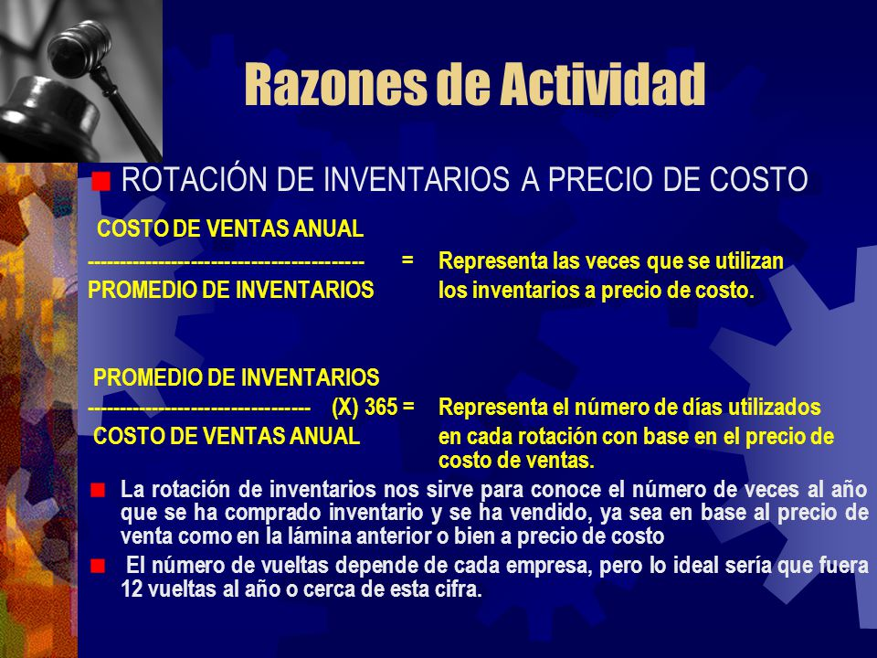 Razones de Actividad COSTO DE VENTAS ANUAL