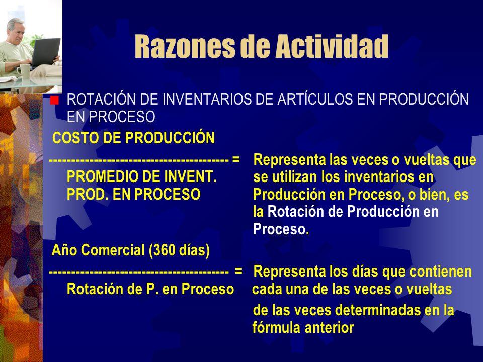 Razones de Actividad ROTACIÓN DE INVENTARIOS DE ARTÍCULOS EN PRODUCCIÓN EN PROCESO. COSTO DE PRODUCCIÓN.