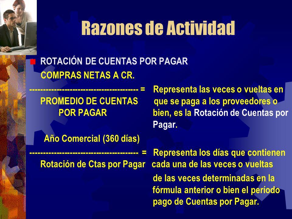 Razones de Actividad ROTACIÓN DE CUENTAS POR PAGAR COMPRAS NETAS A CR.