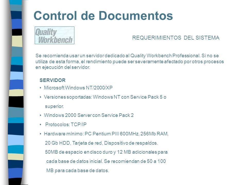 Control de Documentos REQUERIMIENTOS DEL SISTEMA