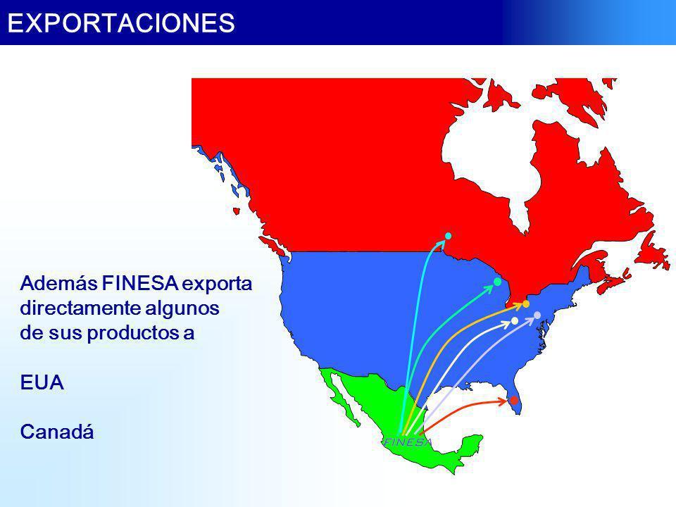EXPORTACIONES Además FINESA exporta directamente algunos