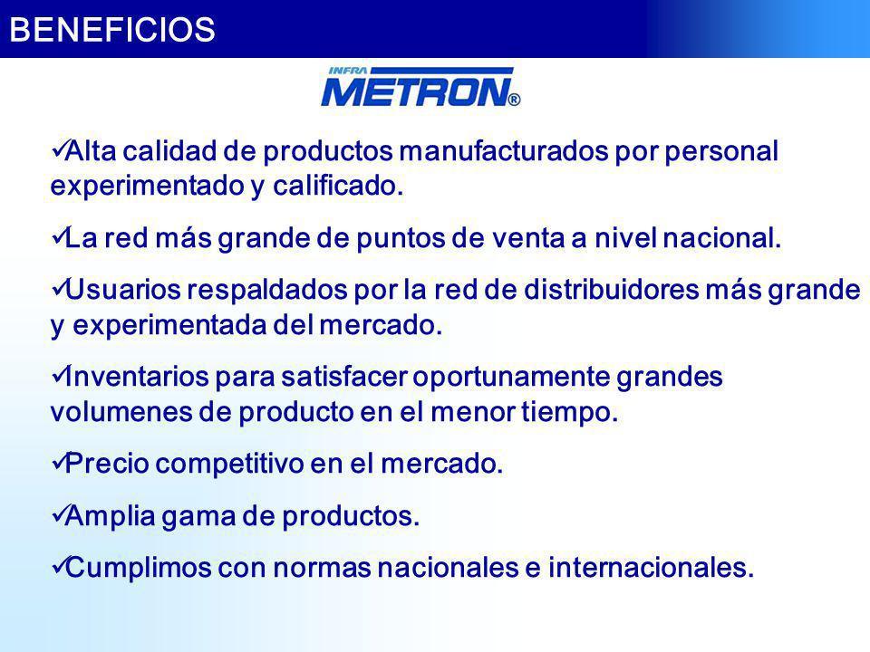 BENEFICIOS Alta calidad de productos manufacturados por personal experimentado y calificado. La red más grande de puntos de venta a nivel nacional.