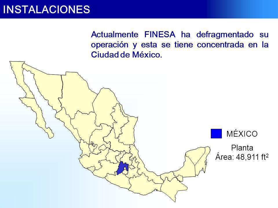 INSTALACIONES Actualmente FINESA ha defragmentado su operación y esta se tiene concentrada en la Ciudad de México.