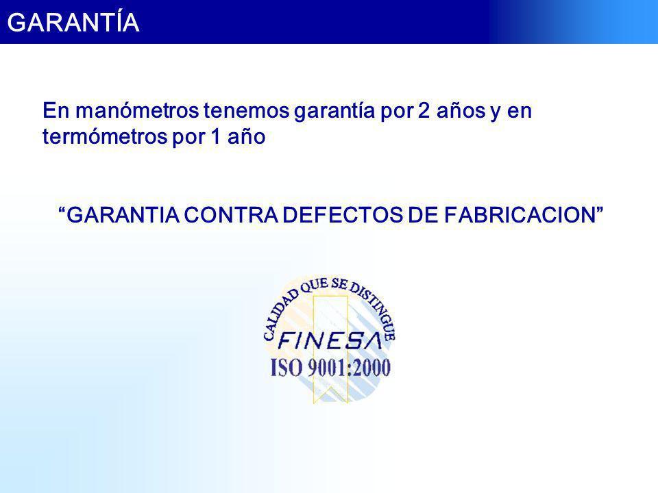 GARANTIA CONTRA DEFECTOS DE FABRICACION