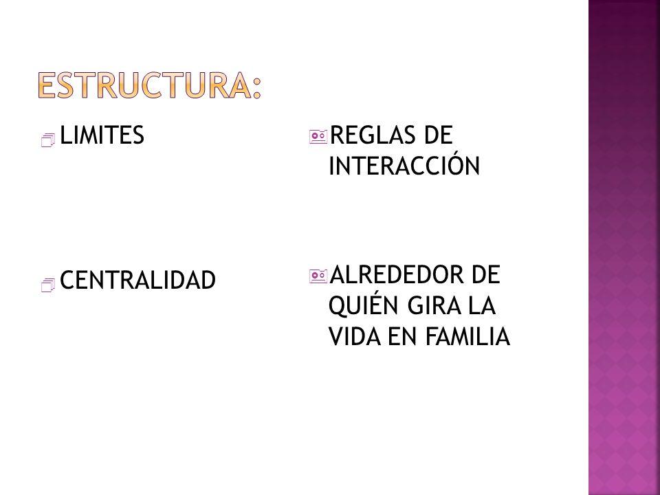 Estructura: LIMITES CENTRALIDAD REGLAS DE INTERACCIÓN