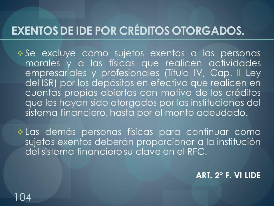 EXENTOS DE IDE POR CRÉDITOS OTORGADOS.