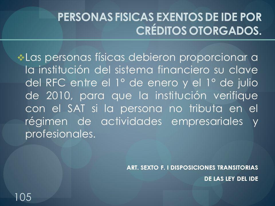 PERSONAS FISICAS EXENTOS DE IDE POR CRÉDITOS OTORGADOS.