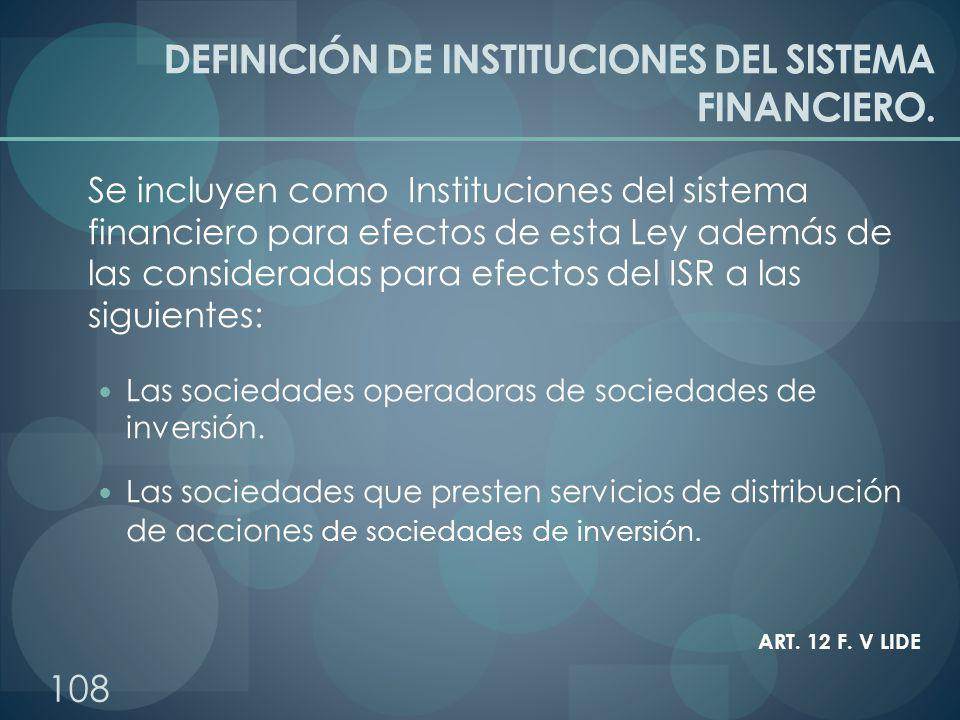 DEFINICIÓN DE INSTITUCIONES DEL SISTEMA FINANCIERO.