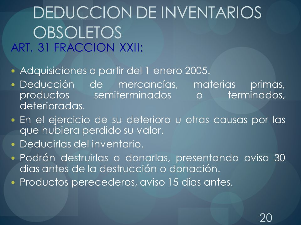 DEDUCCION DE INVENTARIOS OBSOLETOS