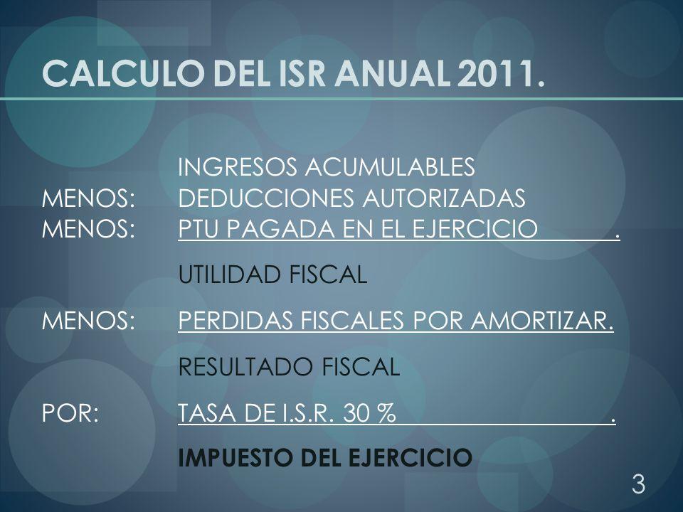 CALCULO DEL ISR ANUAL 2011. INGRESOS ACUMULABLES