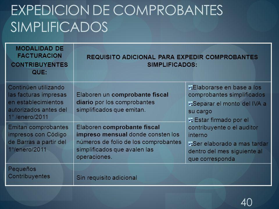 EXPEDICION DE COMPROBANTES SIMPLIFICADOS