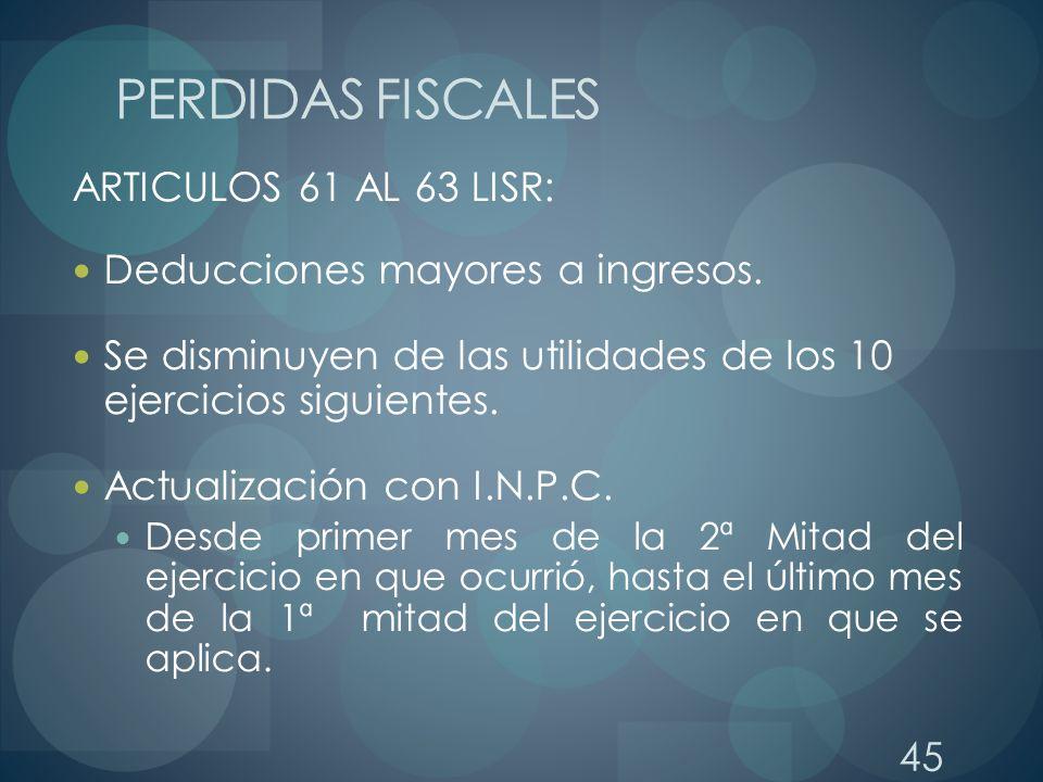 PERDIDAS FISCALES ARTICULOS 61 AL 63 LISR: