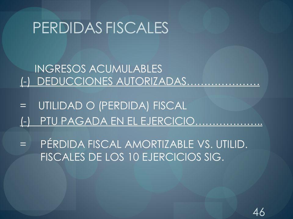 PERDIDAS FISCALES INGRESOS ACUMULABLES (-) DEDUCCIONES AUTORIZADAS…………………