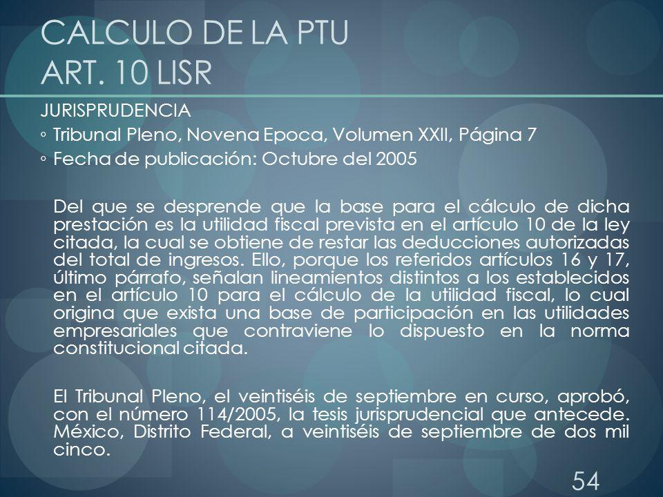CALCULO DE LA PTU ART. 10 LISR