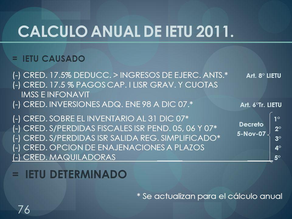 CALCULO ANUAL DE IETU 2011. = IETU DETERMINADO = IETU CAUSADO