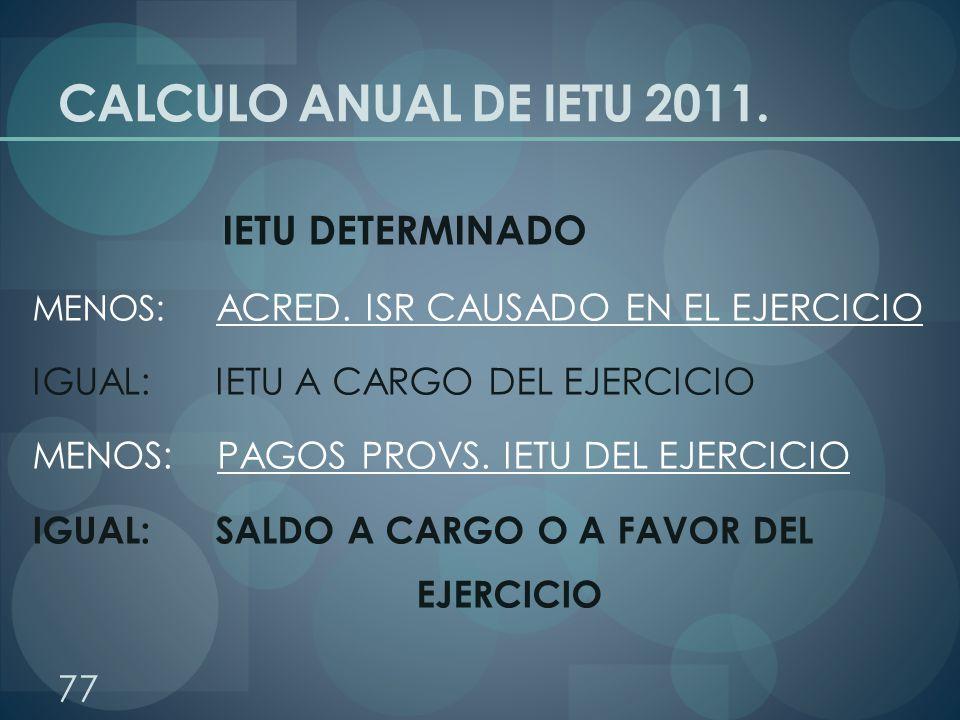 CALCULO ANUAL DE IETU 2011. IETU DETERMINADO