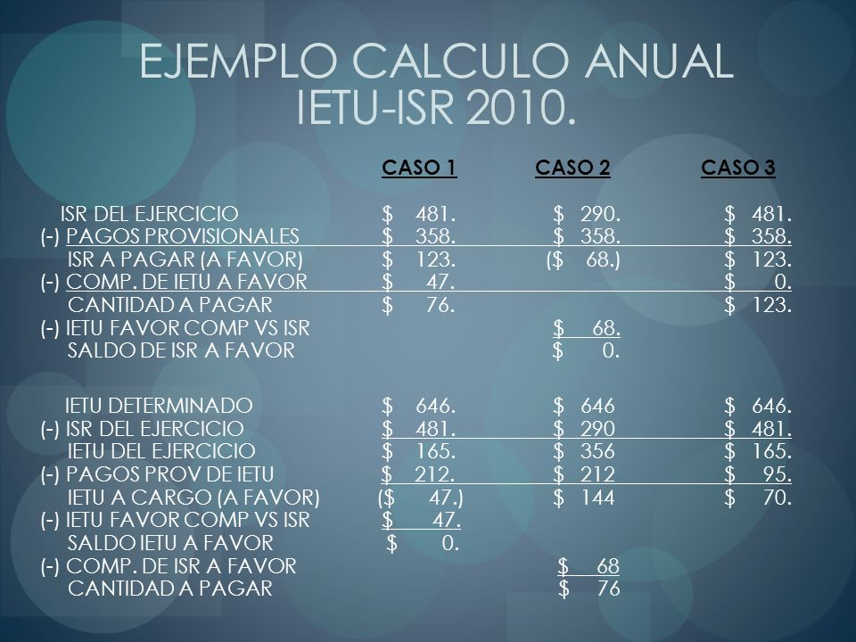 EJEMPLO CALCULO ANUAL IETU-ISR 2010.