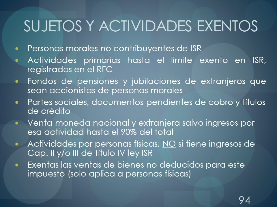 SUJETOS Y ACTIVIDADES EXENTOS