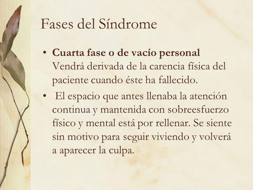 Fases del Síndrome Cuarta fase o de vacío personal Vendrá derivada de la carencia física del paciente cuando éste ha fallecido.