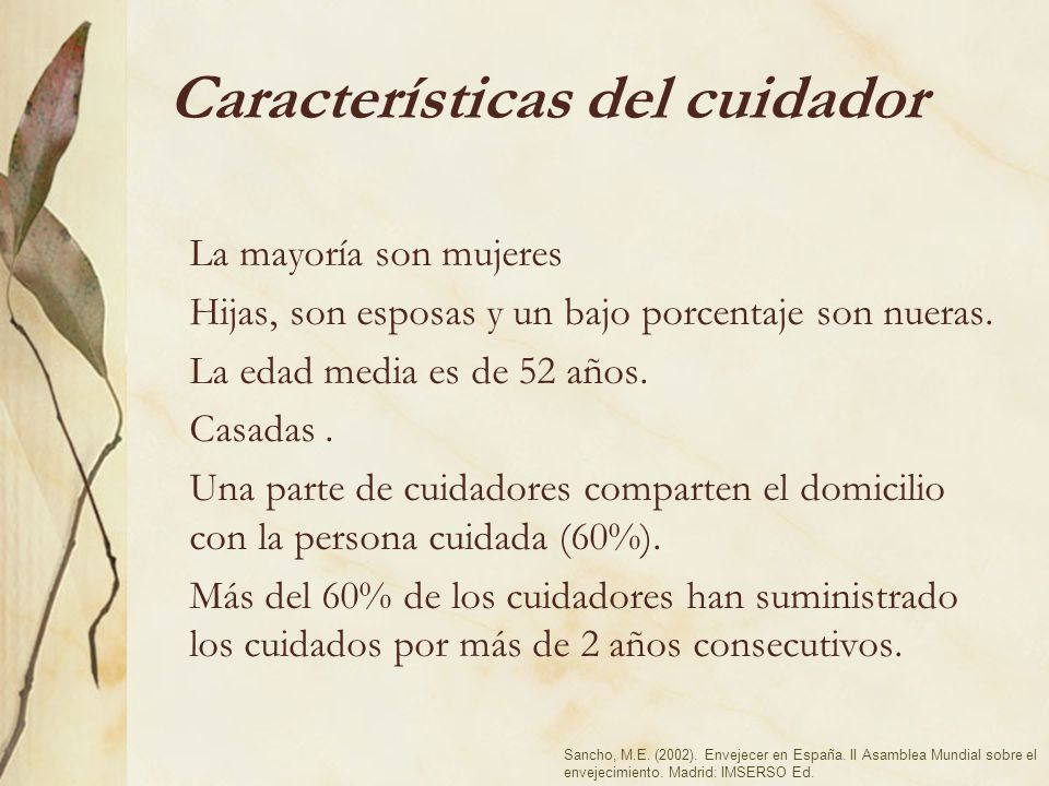 Características del cuidador