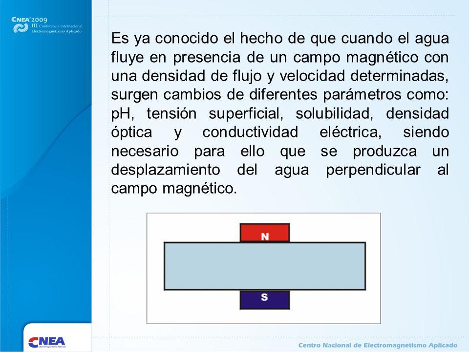 Es ya conocido el hecho de que cuando el agua fluye en presencia de un campo magnético con una densidad de flujo y velocidad determinadas, surgen cambios de diferentes parámetros como: pH, tensión superficial, solubilidad, densidad óptica y conductividad eléctrica, siendo necesario para ello que se produzca un desplazamiento del agua perpendicular al campo magnético.