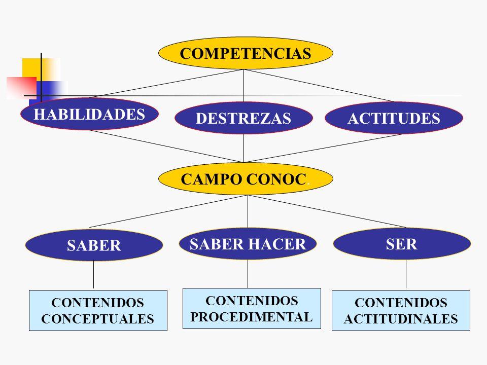 COMPETENCIAS HABILIDADES DESTREZAS ACTITUDES SABER SABER HACER SER
